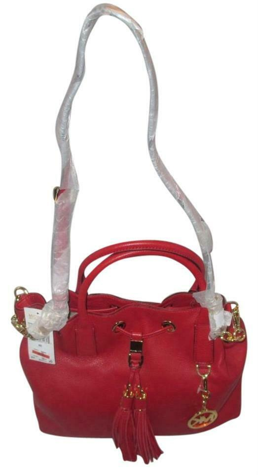 MICHAEL KORS CAMDEN LEATHER DRAWSTRING RED GOLD CROSSBODY LARGE SATCHEL BAG NWT image 5