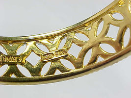 CUFF BRACELET with Diamond Accent in 14K GOLD Vermeil on STERLING- 2 Tone Design image 4