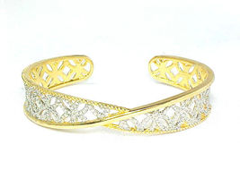 CUFF BRACELET with Diamond Accent in 14K GOLD Vermeil on STERLING- 2 Tone Design image 5