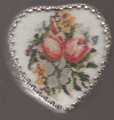 HEART SHAPED PETIT POINT TRINKET BOX