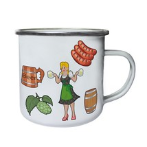 hand drawn elements oktoberfest Retro,Tin, Enamel 10oz Mug g949e - $13.13