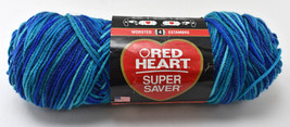 Red Heart Super Saver Blue Variegated Worsted Yarn-1 Skein Macaw #3944 - $9.45