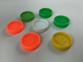 Fisher Price Coins 7pc Lot For Waitress Tray Coin Dispenser Vintage 1984 image 3
