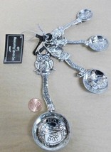 4pc WISE OWL & COOKING POT measuring spoon set Silver Metal MOTHERS DAY ... - $19.27
