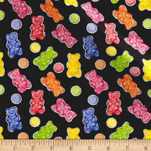 Gummy Glitter Bears Toss on Black Fabric Tradition 100% cotton by the yard - $8.58
