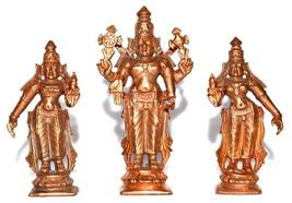 Lord Srinivasa with consorts Sridevi Bhudevi Idols In Pure Copper - $65.02