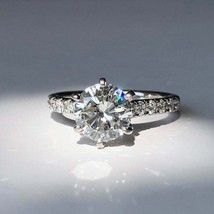 2.30Ct Round Cut White Diamond Ladies Engagement Ring in Solid 14K White... - £200.62 GBP