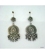 Traditional Design Sterling Silver Earrings Ethnic Handmade Earrings - $78.21