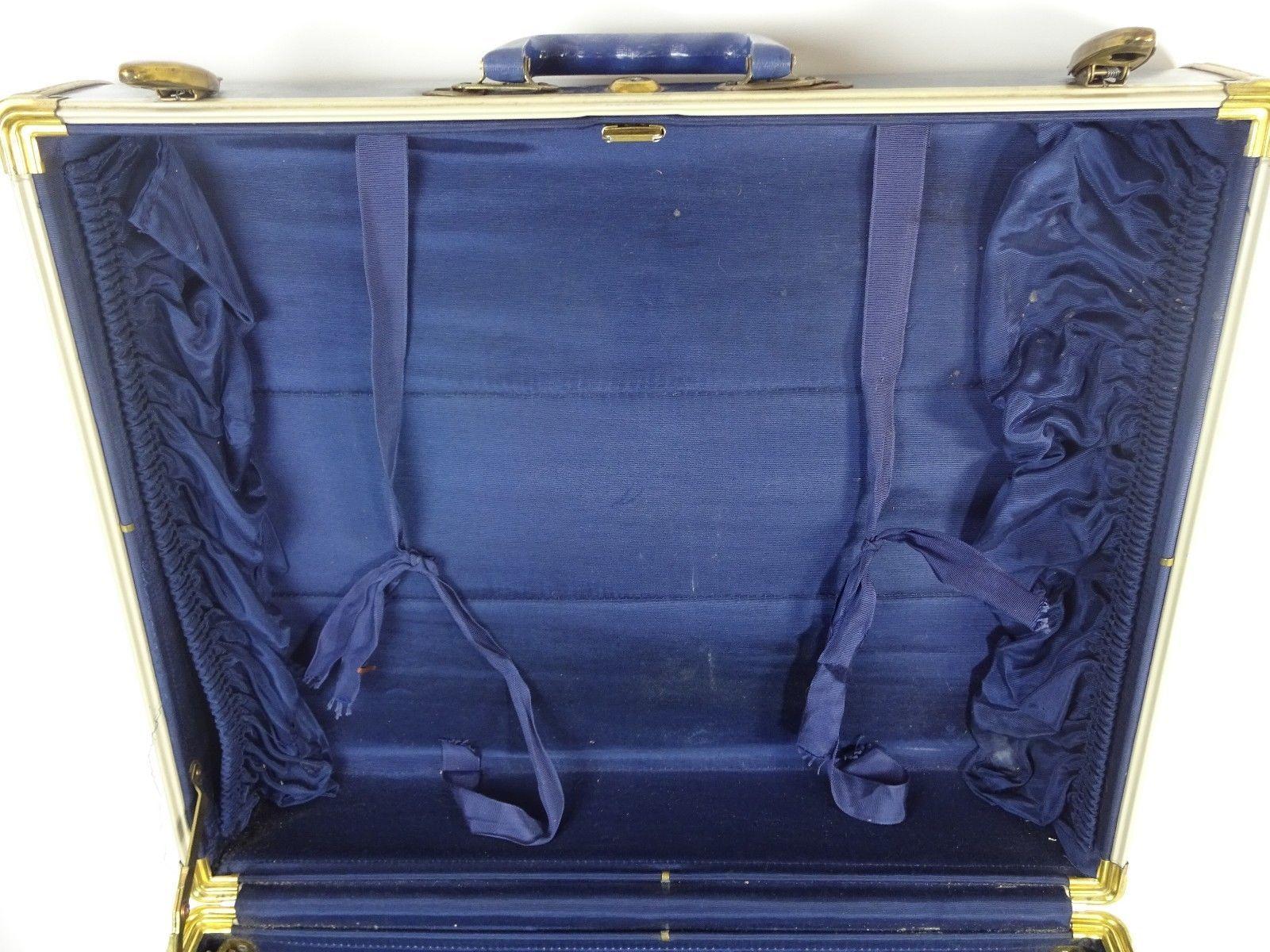 """VTG MCM Samsonite Suitcase Shwayder Bros #4721 ? Marble Blue - 21"""" x 17"""" x 9"""""""