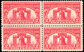 1926 Sesquicentennial Liberty Bell Block of 4 US Stamps Catalog Number 627 MNH