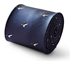 Frederick Thomas bleu marine cravate hommes avec volant design canard ft3335