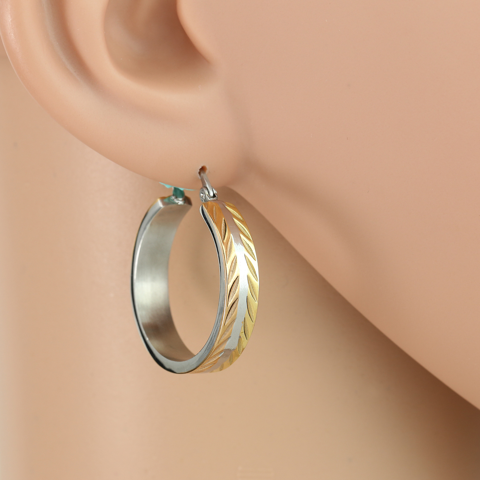 Chic Polished Tri-Color Silver, Gold & Rose Tone Hoop Earrings- United Elegance