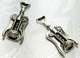 CORKSCREW WINE BOTTLE OPENER FINE PEWTER PENDANT CHARM - 11mm L x 27mm W x 7mm D