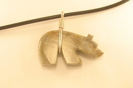 Necklace Zuni fetish bear with rope cord - $52.00