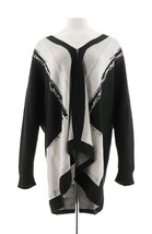 H Halston Long Slv Jacquard Sweater Cardigan Black M NEW A301941 - $40.57