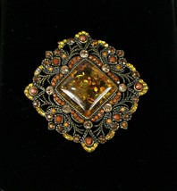 "Vintage 1.75"" Across Amber Red Beaded Stoned Jeweled Square Medallion Part - $12.92"