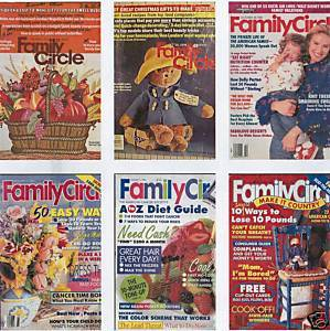 6)FAMILY CIRCLE 1972-92 CRAFTS;DECOR;MONEY;RECIPES;DIET