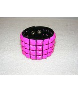 "FUNK PLUS 9.25"" BLACK LEATHER WITH PINK PYRAMID STUDS CUFF BRACELET GUC  - $29.99"