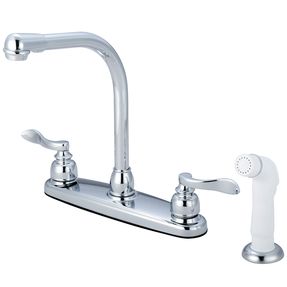 "Primary image for Nuwave French Double Handle 8"" Centerset High-Arch Kitchen Faucet,White Sprayer"