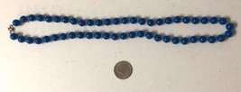 Vintage Necklace, Blue Beaded Necklace, Navy Blue Beaded Necklace, Inv1406, - $7.00