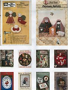 10 CHRISTMAS CRAFT BOOKLETS-FELT,APPLIQUE,QUILT,LACE,CR