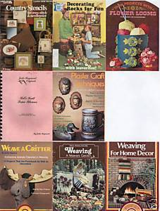 8)CRAFT BOOKLETS-WEAVING;PLASTERCRAFT;CROSS-STITCH;KNIT