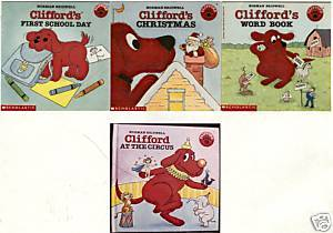 4)CLIFFORD'S CHRISTMAS;WORD BOOK;Clifford AT CIRCUS;Clifford's 1st School Day