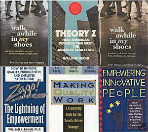 5)THEORY Z;MAKING QUALITY WORK;EMPOWERING PEOPLE;ZAPP!
