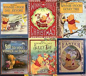 6)WINNIE THE POOH:EEYORE;CHRISTMAS;BOO;SILLY;EASTER;HON