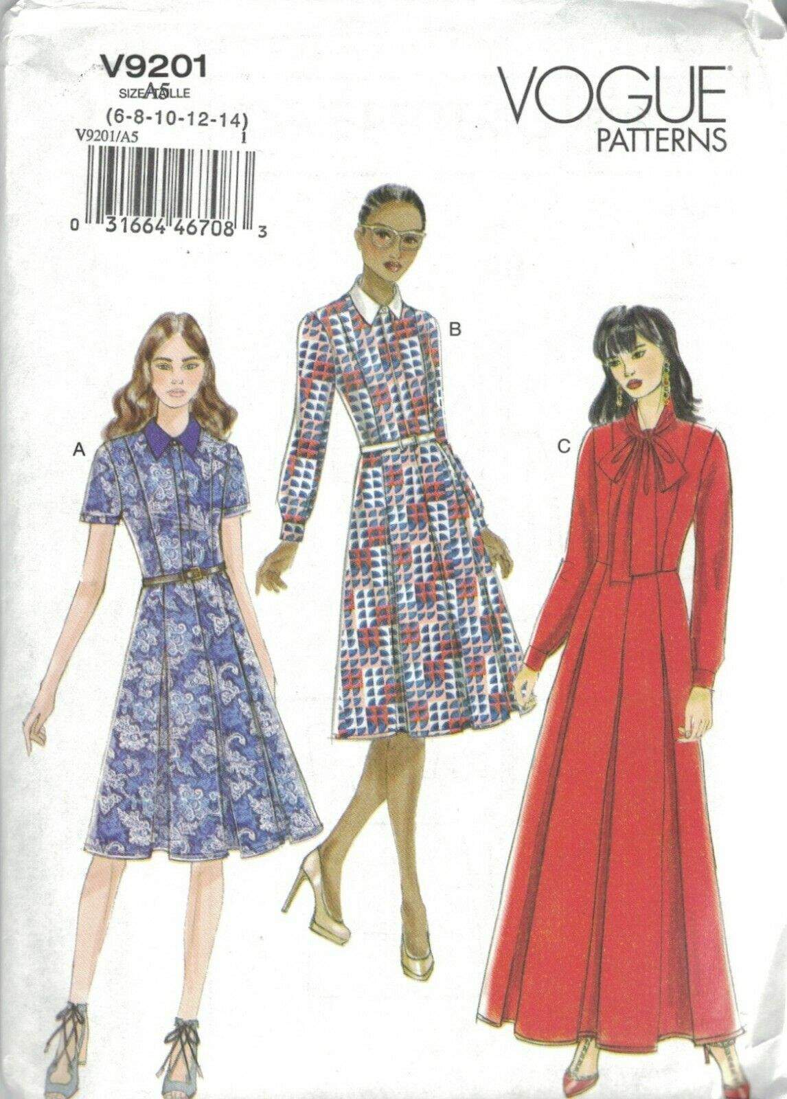 Primary image for Vogue 9201 Shirt Dress Pattern Collar or Pussycat Bow Option Choose Size Uncut