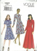 Vogue 9201 Shirt Dress Pattern Collar or Pussycat Bow Option Choose Size... - $14.69+