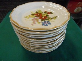 "Beautiful Mikasa Stoneware ""A Basket Of Flowers""...12 BREAD-SALAD-DESSERT Plates - $61.96"
