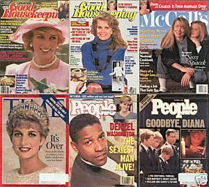 6)PRINCESS DIANA MAGAZINES-GH,PEOPLE,McCALL'S1987-97
