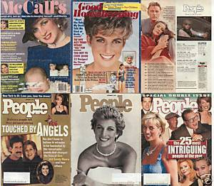 6)PRINCESS DIANA MAGAZINES-GH,PEOPLE,McCALL'S1985-97