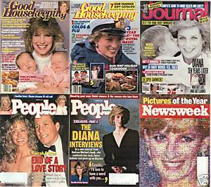 6)PRINCESS DIANA MAGAZINES-GH,PEOPLE,LHJ,NEWSWK1984-97