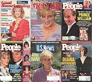 6)PRINCESS DIANA MAGAZINES-GH,PEOPLE,McCALL'S,1991-1997