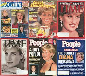 6)PRINCESS DIANA MAGAZINES-GH,PEOPLE,McCALL'S,1989-1997