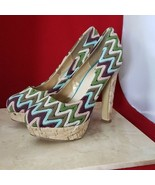 Diba Girl Multicolored Zig Zag High Heels Size 8.5 - $17.99