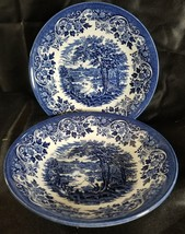 "(2) CHURCHiLL BLUE ENGLISH SCENE BOWL 8"" SOUP FISHING CASTLE (multiple a... - $24.78"