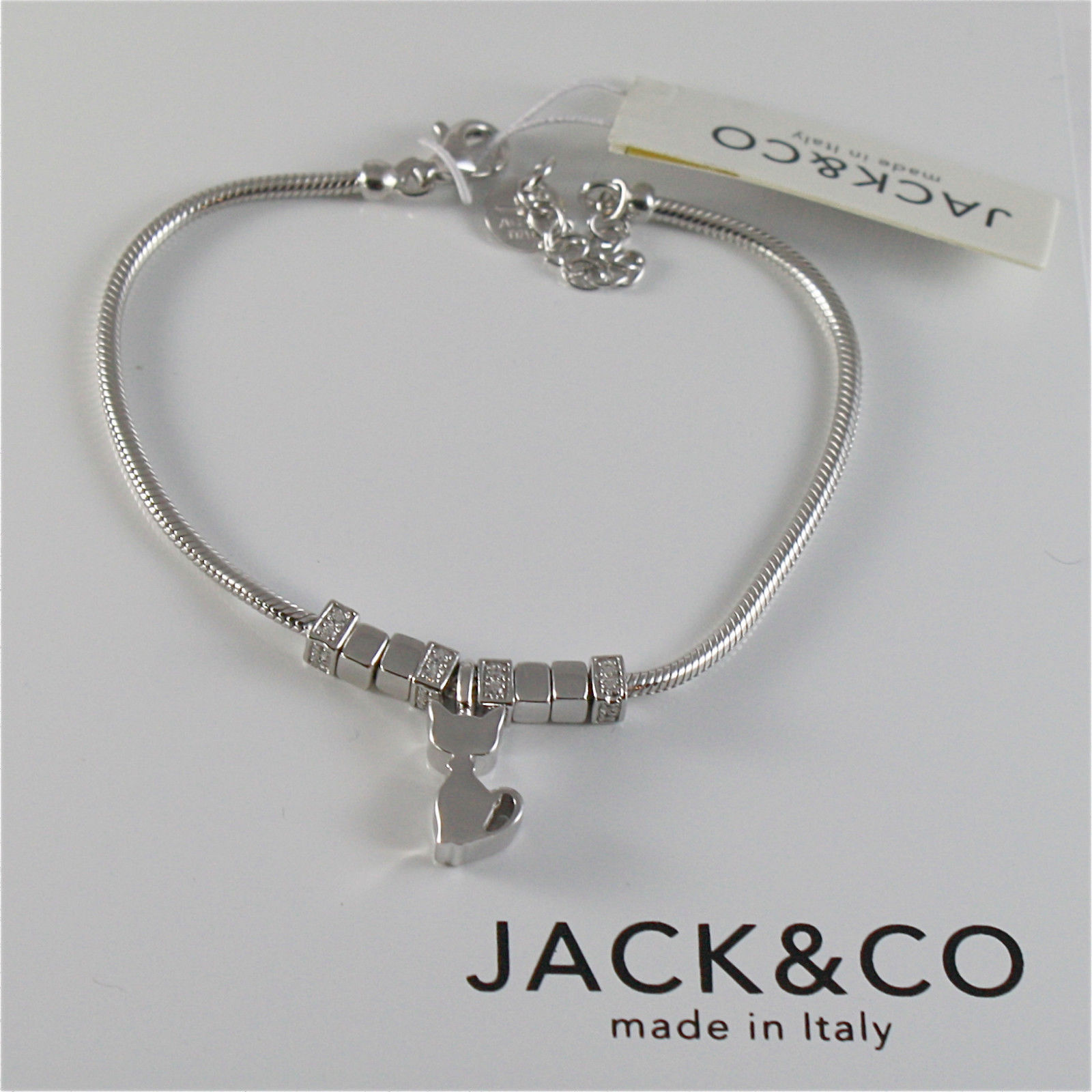 925 RHODIUM SILVER JACK&CO BRACELET WITH SHINY CAT KITTEN,  MADE IN ITALY 7.5 IN