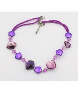 Shell Seed Bead Purple Necklace - $12.86