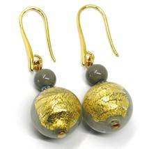 PENDANT EARRINGS GRAY MURANO GLASS SPHERE & GOLD LEAF, 4.5cm, MADE IN ITALY image 1