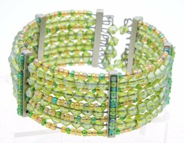 VTG Multi-Colored Green Glass Bead Beaded Cuff Bracelet - $29.70