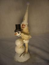 Vintage Inspired Spun Cotton Snowman Builder Christmas Ornament no. CH27 image 1