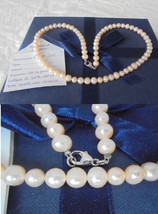 NECKLACE in natural pearls BIWA with clip in white GOLD 18kt in gift box... - $109.00