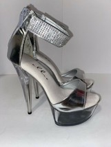 Ellie Womens Silver Bedazzleded Stiletto Platform Forms High Heel Shoes ... - £32.21 GBP