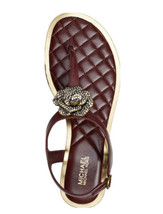 Nwt Michael Kors Lucia Thong Leather Open Toe Casual Slingback Sandals Size 8 - $79.19
