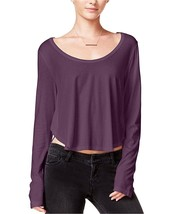 Chelsea Sky Women's Long Sleeve Asymmetrical Crop Top Medium M Purple $48 - $17.94