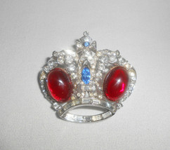 Coro Craft Rhinestone Crown Brooch Pin Vintage Jewelry Rhodium Plate  - $61.75