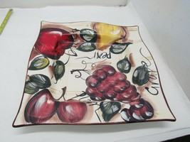 "14"" x 14"" Large Serving Platter Pasta Plate Fruit Design  - $39.55"